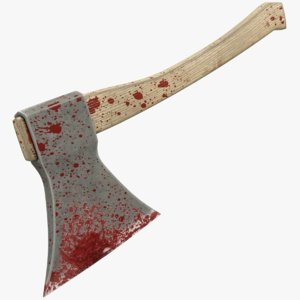 3D bloody axe blood