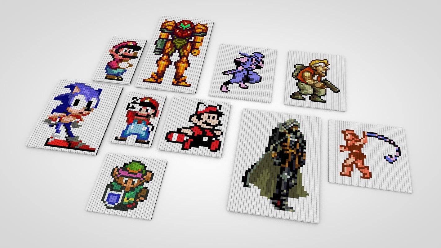 3D classic games pixel model