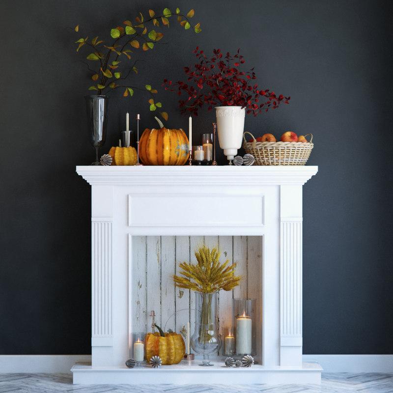 3D fireplace autumn pumpkin model
