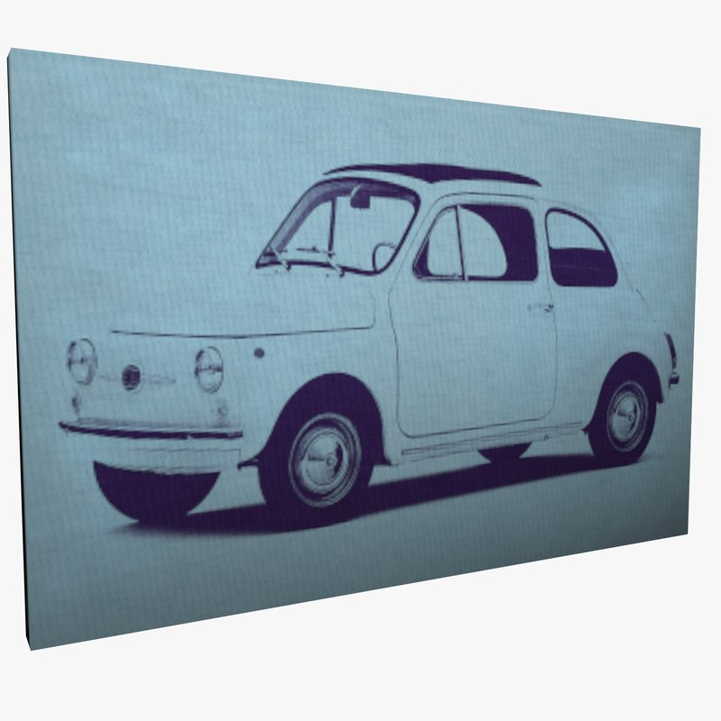 3D model canvas wall art fiat