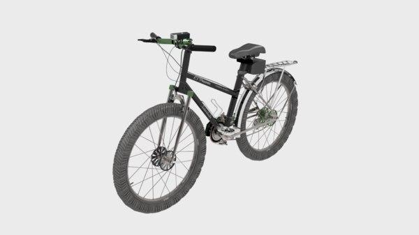 black 15 speed mountain bike 3D