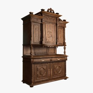 3D model low-poly classic old cabinet