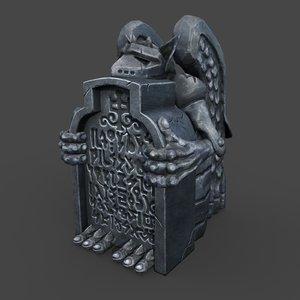 3D gargoyle gravestone model