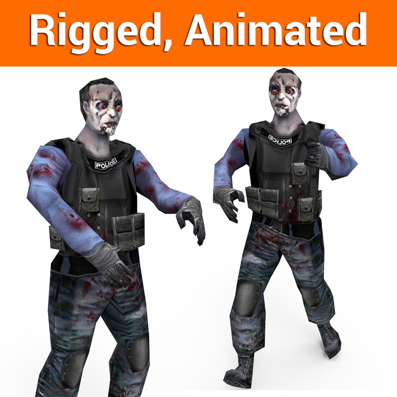 zombie police character rigged 3D model