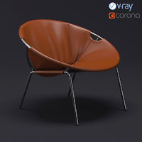 west dries leather sling chair 3D