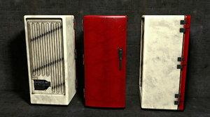3D old vintage fridge