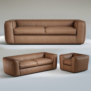 3D oliver b puffed 3 seater