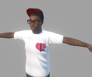 3D black urban guy model