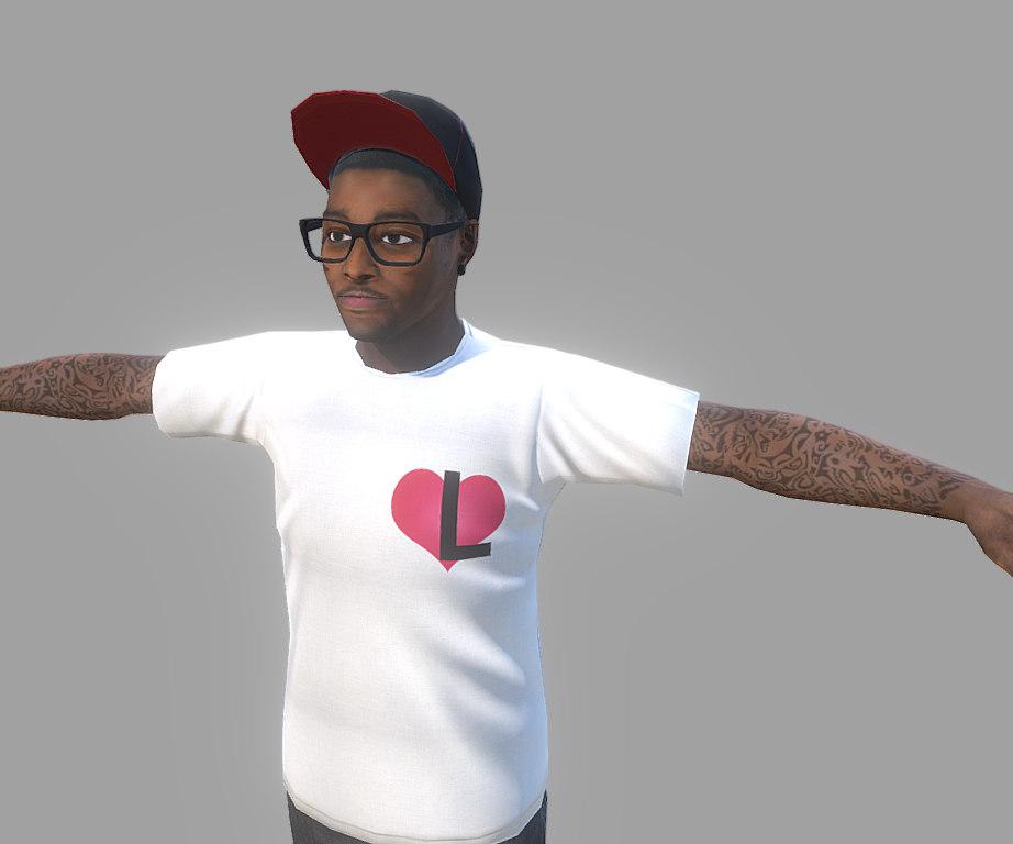 3D black urban guy model