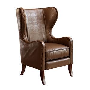 3D model dempsey wingback chair bourbon