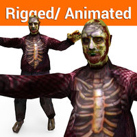 3D zombie male rigged character model