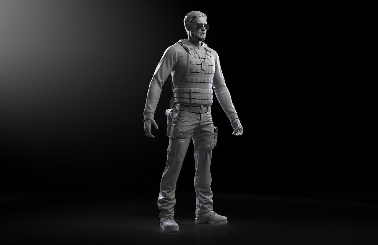 3D model cop zbrush