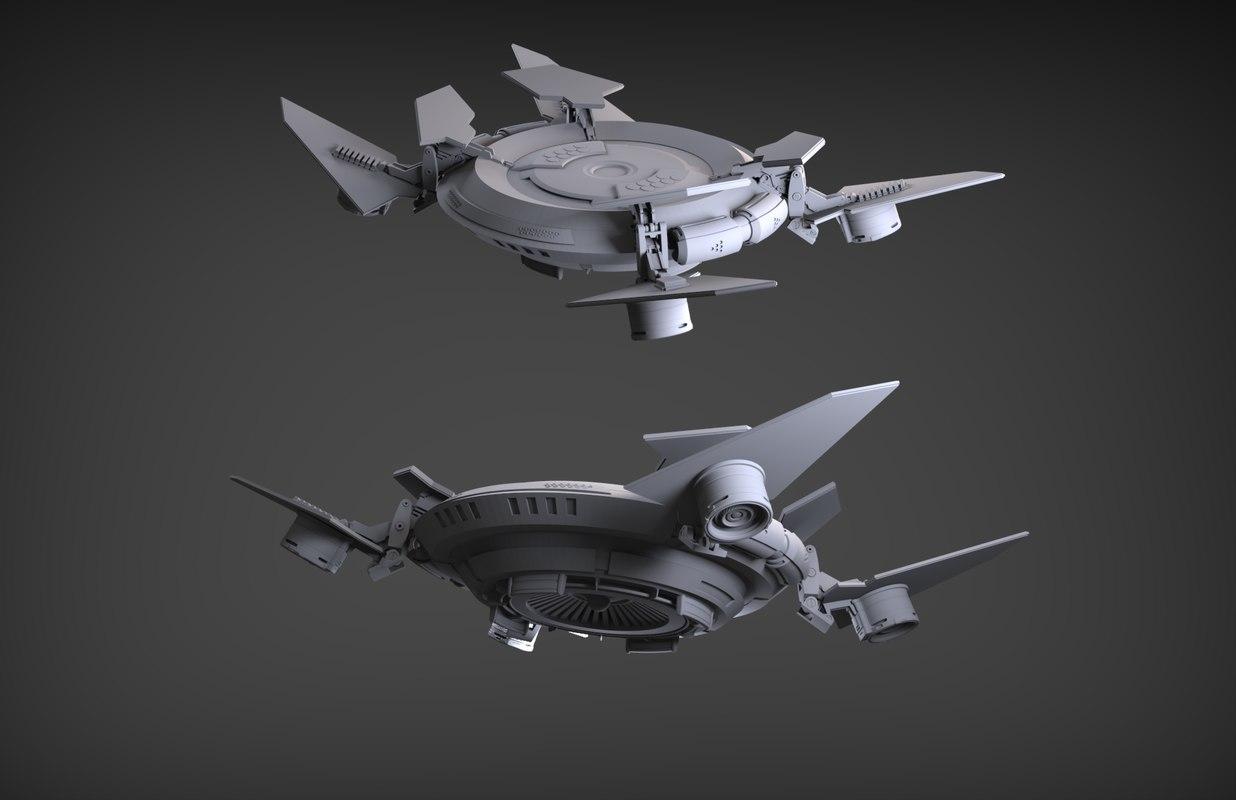 sci-fi flying platform 3D model
