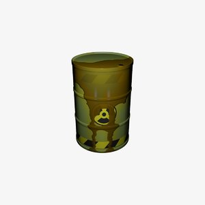 3D barrel waste nuclear model