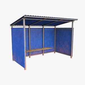 3D metal bus stop model