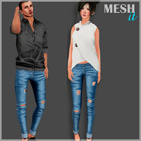 3D female male jeans model