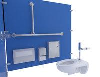 3D restroom stalls toilet