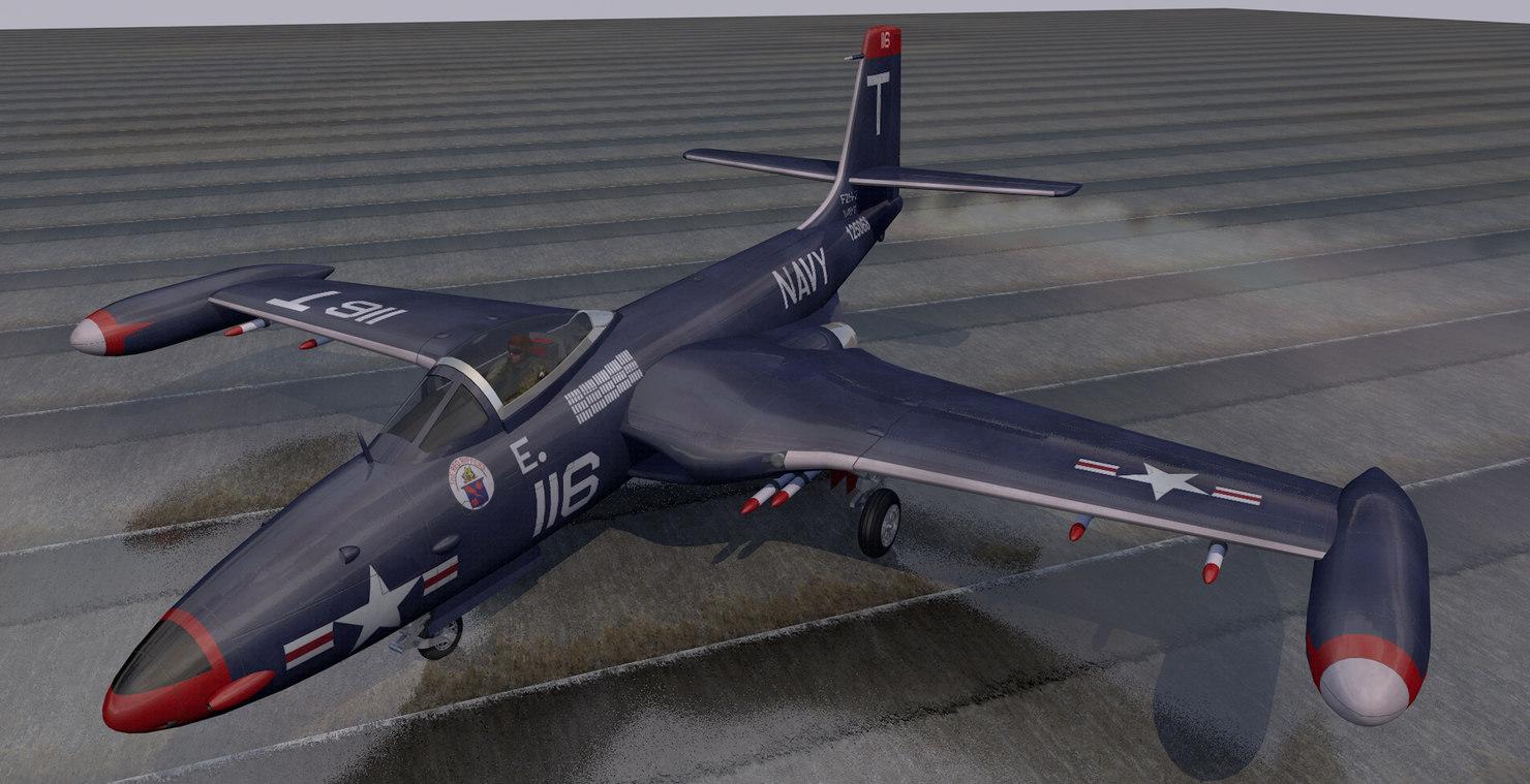 3D plane mcdonnell f2h-2 banshee
