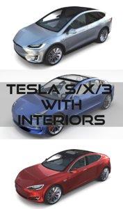 3D tesla s x interior model