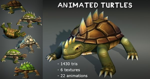 turtles pack animations 3D model