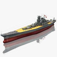 3D ijn yamato japanese battleship model