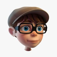 3D model cartoon boys head