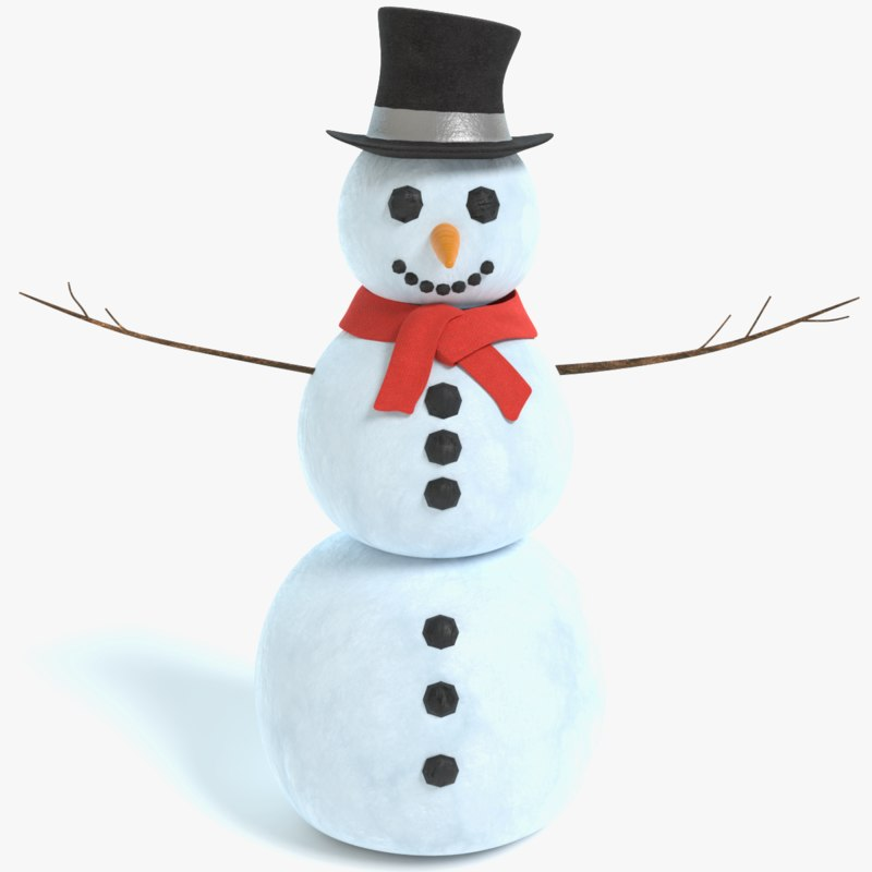 3D snowman x pbr model
