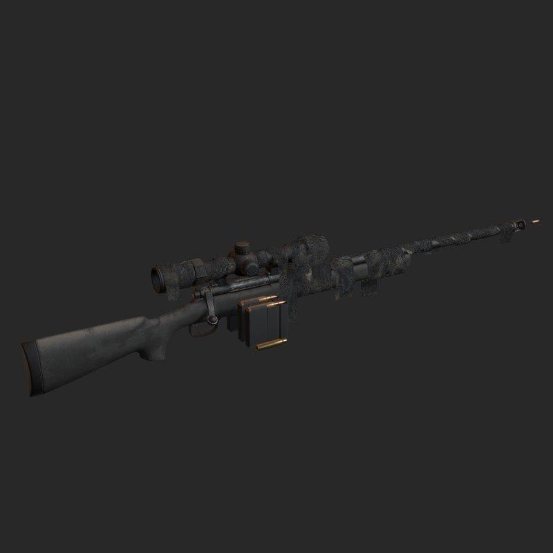 3D model sniper rifle m24