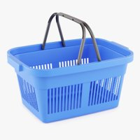 3D plastic market shopping basket model