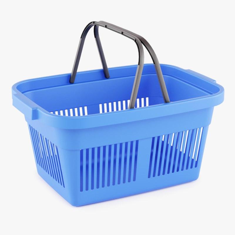 3D plastic market shopping basket model
