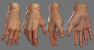 realistic man hand source 3D model