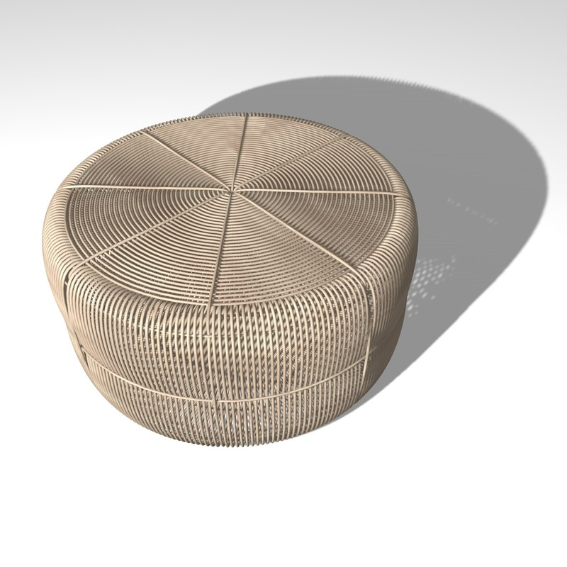 braided wood table 3D