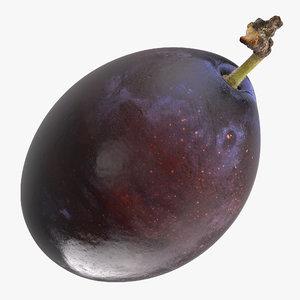 3D blue ripe plum fruit