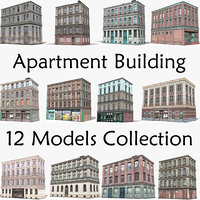 pack 12 apartment building 3D model