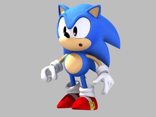 rigged classic sonic hedgehog 3D model