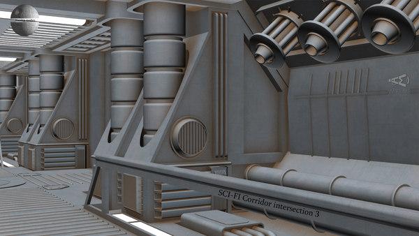 sci-fi corridor intersection 3 3D model