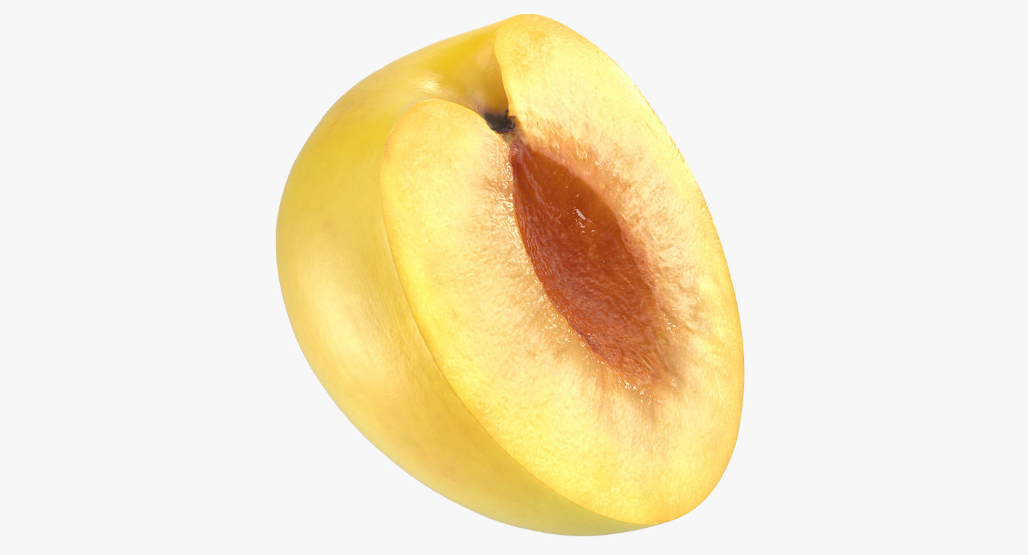 yellow plum half 3D model