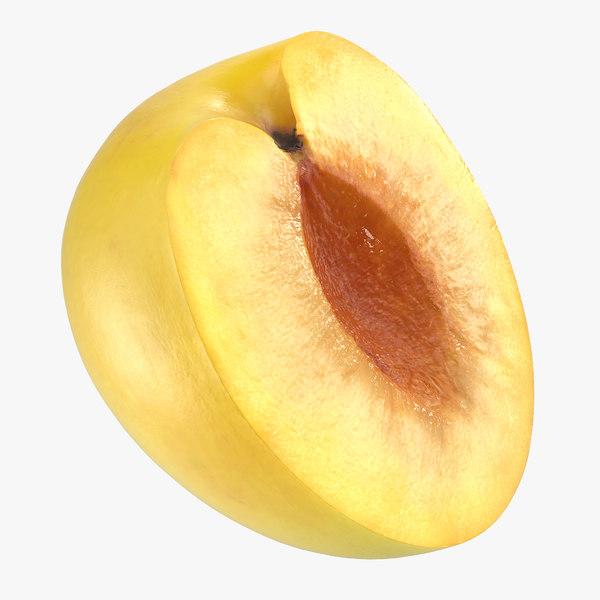 yellow plum half 3D model