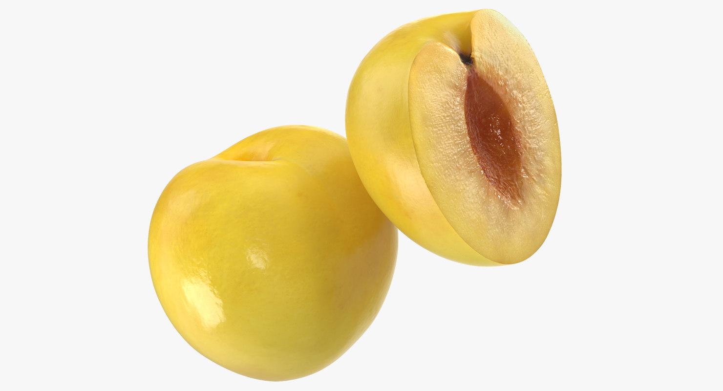yellow plum set 3D model