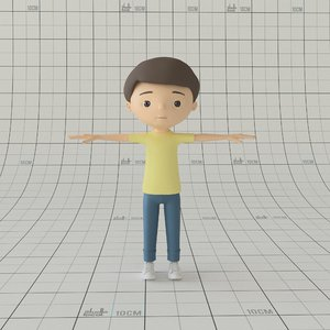 cartoon boy rig 3D model