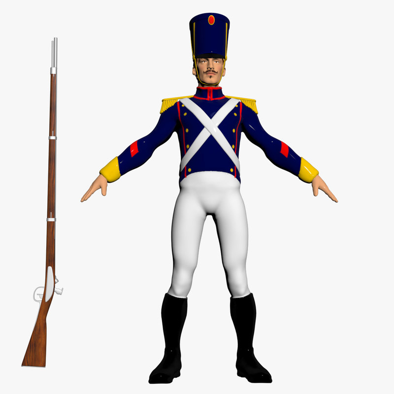3D napoleonic toy soldier character