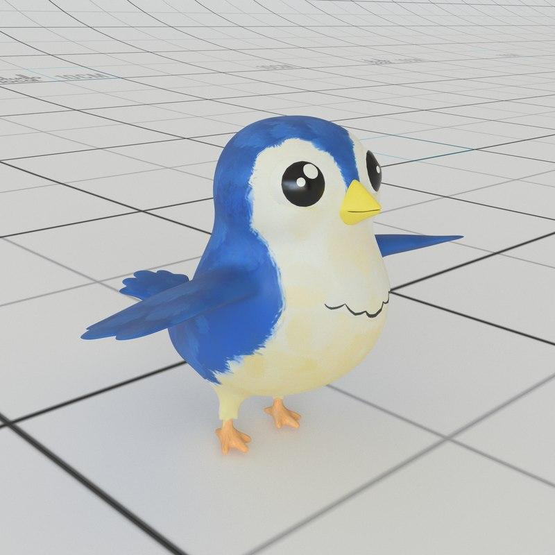 3D cartoon bird rig model