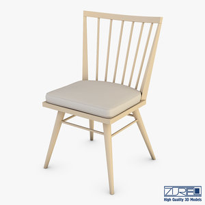 3D model midcentury modern chair ensemble