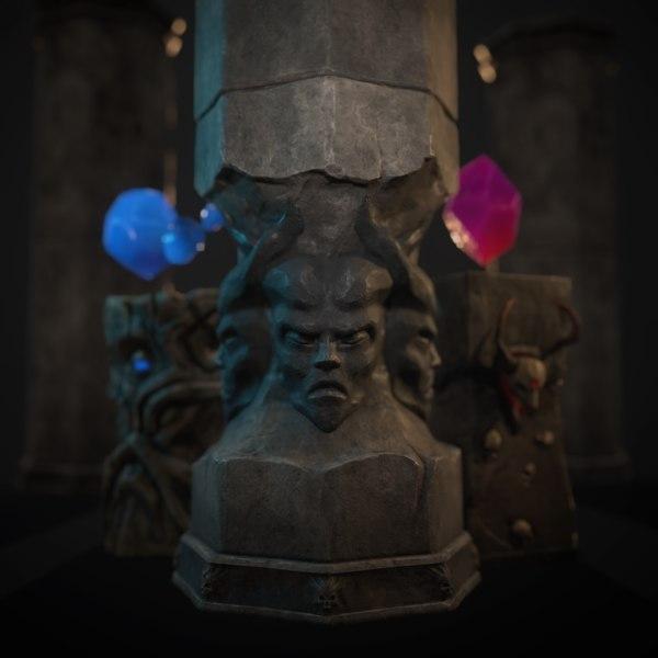 crystals demonic idol 3D model