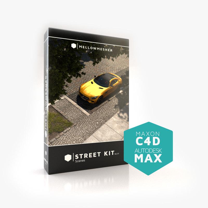 3D model scenes street kit