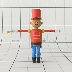 3D model wooden drill master toy
