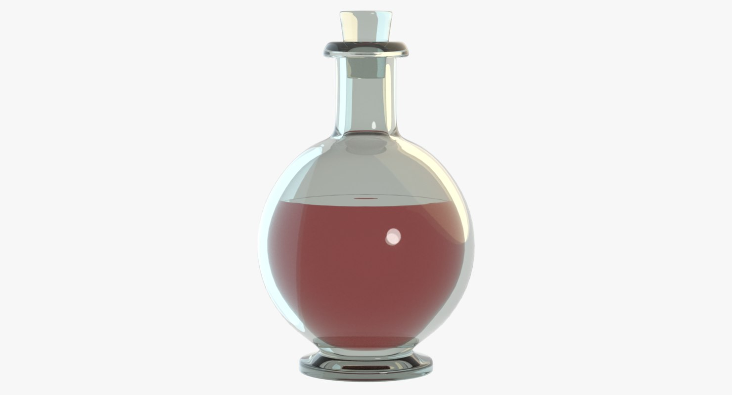 3D glass cork bottle model