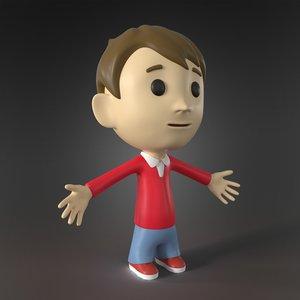 3D cartoon character little boy model