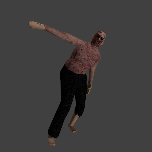 low-poly zombie animations mobile 3D model