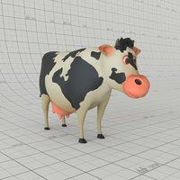 Animated Rigged Cartoon Cow